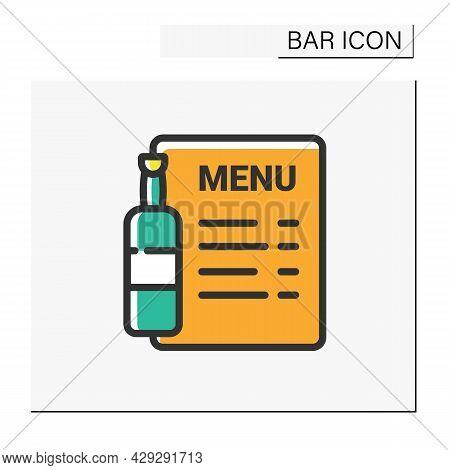 Bar Menu Color Icon. Brochure, Flyer, List. Alcohol, Restaurant, Night Club, Bar Menu. Cocktail Part