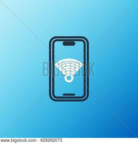 Line Smartphone With Free Wi-fi Wireless Connection Icon Isolated On Blue Background. Wireless Techn