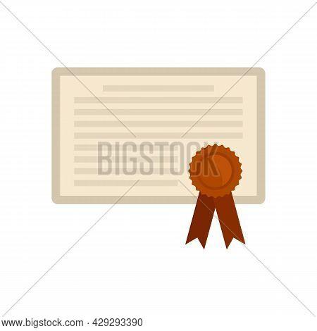 Internship Graduation Diploma Icon. Flat Illustration Of Internship Graduation Diploma Vector Icon I