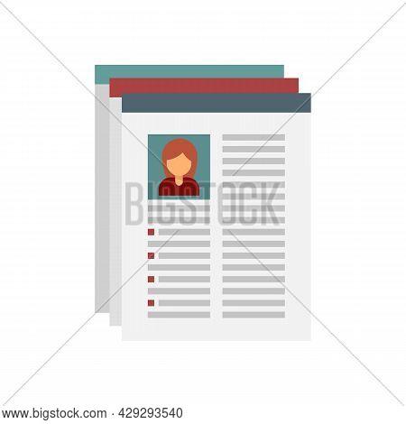Internship Worker Cv Icon. Flat Illustration Of Internship Worker Cv Vector Icon Isolated On White B