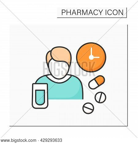 Dosage Color Icon.size Or Frequency Of Dose Of Medicine Or Drug. People Take Pills In Special Time P