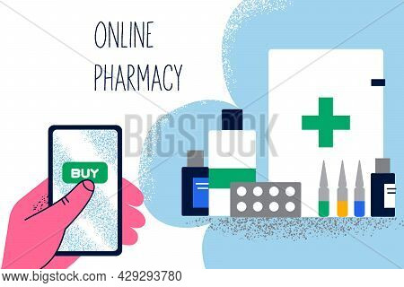 Online Pharmacy Shopping Drugs Concept. Human Hand With Smartphone Ordering Medical Supplies, Bottle