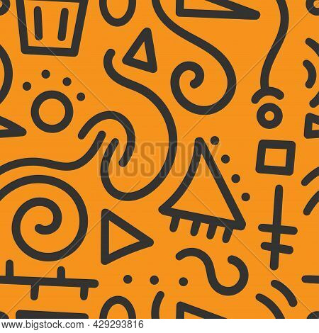 Seamless Abstract Pattern On Orange Background. Vector Doodle Image. Graphic Geometric Ornament. Lin