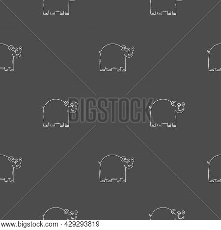 Seamless Pattern With Cute Cartoon Elephants On Gray Background. Funny Doodle Animals Wallpaper.