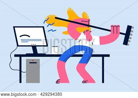 Anger, Rage And Stress At Work Concept. Furious Angry Woman Office Worker Destroying Her Personal Co
