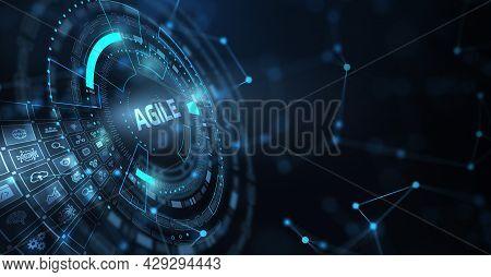 Business, Technology, Internet And Network Concept. Agile Software Development. 3d Illustration