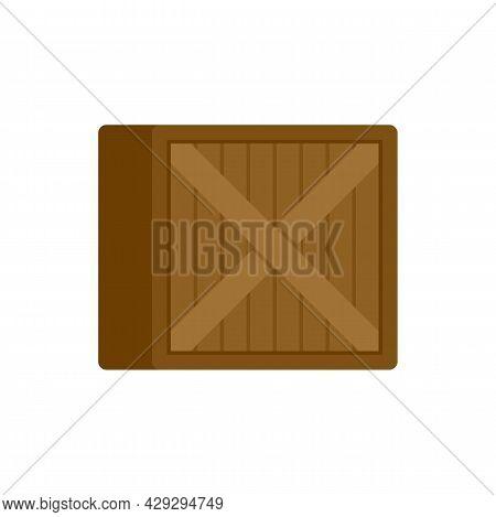 Storage Wood Crater Box Icon. Flat Illustration Of Storage Wood Crater Box Vector Icon Isolated On W