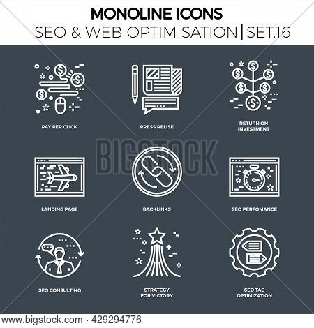 Line Icons Set With Flat Design Of Seo. Pay Per Click, Press Relise, Return On Investment, Landing P