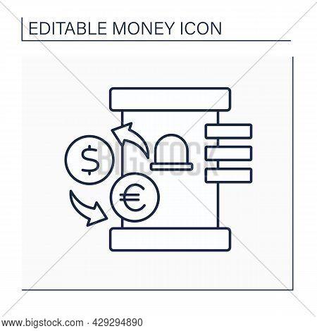 Bureau De Change Line Icon. Establishment For Exchange Foreign Money. Currency Converted Service. Mo