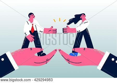 Business Partnership, Agreement, Deal Concept. Positive Confident Business People Standing On Big Ha