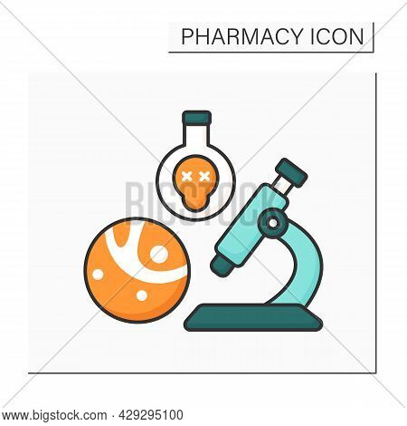 Toxicology Color Icon. Study Of Poisons And Scientific Discipline. Research And Development. Pharmac