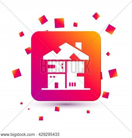 White Homeless Cardboard House Icon Isolated On White Background. Square Color Button. Vector