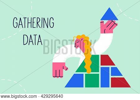 Gathering Data In Business Concept. Young Smiling Business Woman Cartoon Character Holding Blue Top