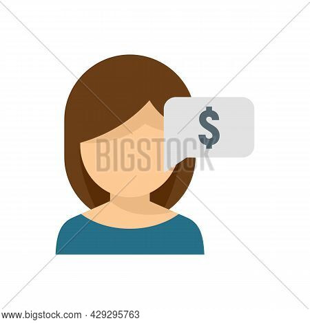 Girl Ask Online Loan Icon. Flat Illustration Of Girl Ask Online Loan Vector Icon Isolated On White B