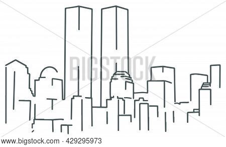Patriot day in USA. Twin towers. Hand drawn world trade center. One line drawing towers. New York city in line art.