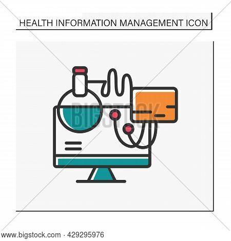 Computerized Diagnostics Color Icon. Modern Laboratory Equipment. Digital Technologies In Medicine S