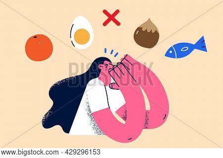 Allergy And Special Food Diet Concept. Cute Girl Cartoon Character Standing Thinking About Food Alle