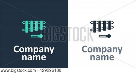 Logotype Xylophone - Musical Instrument With Thirteen Wooden Bars And Two Percussion Mallets Icon Is
