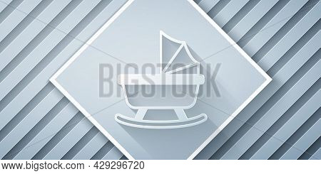 Paper Cut Baby Stroller Icon Isolated On Grey Background. Baby Carriage, Buggy, Pram, Stroller, Whee