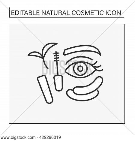 Beauty Procedure Line Icon. Organic Mascara For Lash Care. Patches From Black Circles. Natural Cosme