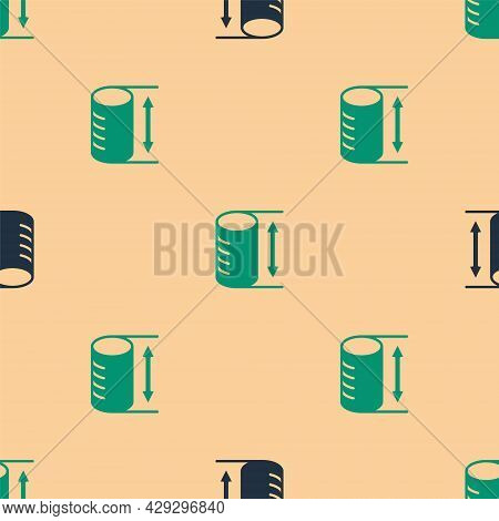 Green And Black Height Geometrical Figure Icon Isolated Seamless Pattern On Beige Background. Abstra