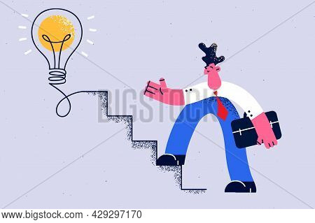 Creativity In Business, Brainstorm, New Idea Concept. Young Positive Businessman Cartoon Character S