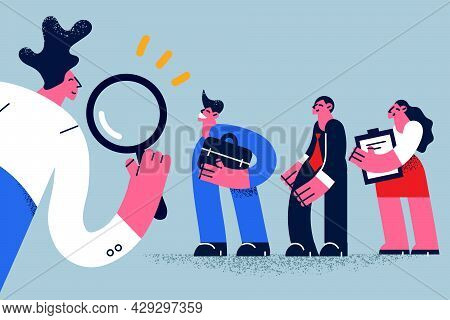Human Resources, Head Hunt, Choosing Talent For Job Concept. Man Employer Boss Or Hr Manager Standin