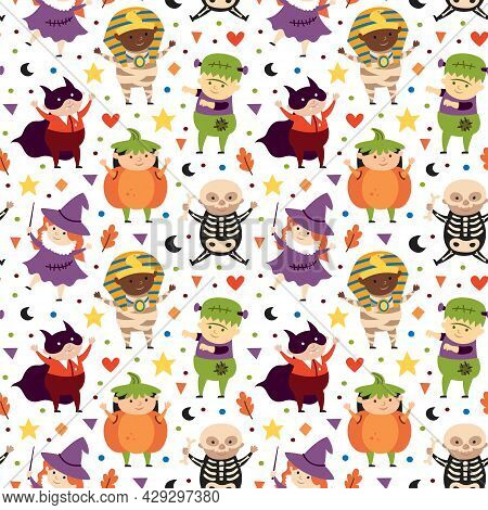 Children In Halloween Costumes Of Spooky Creatures. Day Of Dead Holiday Seamless Pattern. Pumpkin, D