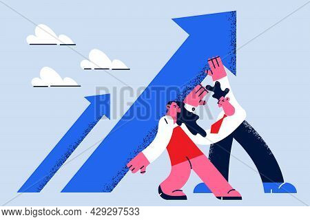 Stop Falling And Possibilities Concept. Woman And Man Colleagues Standing And Pushing Back Falling A