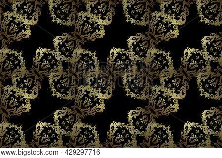Raster Golden Floral Ornament Brocade Textile And Glass Pattern. Gold Metal With Floral Pattern. Sea