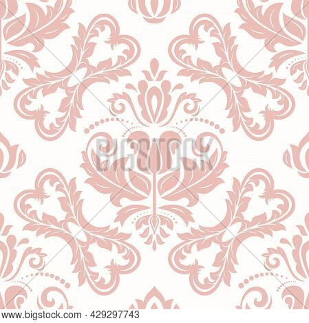 Classic Seamless Vector Pattern. Damask Orient Ornament. Classic Vintage Pink And White Background.