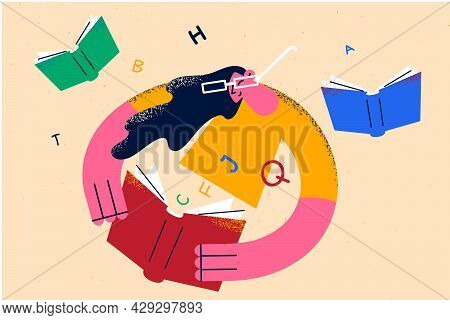 Distant Learning And Education Concept. Woman In Glasses Cartoon Character Sitting And Reading Books
