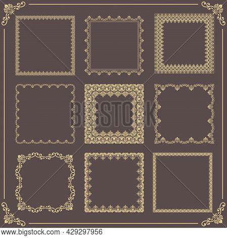 Vintage Set Of Vector Elements. Different Square Elements For Decoration And Design Frames, Cards, M