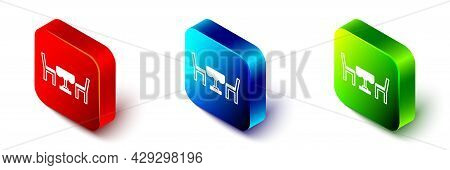 Isometric French Cafe Icon Isolated On White Background. Street Cafe. Table And Chairs. Red, Blue An