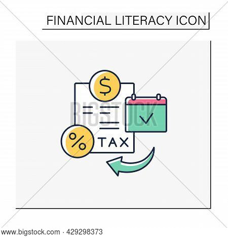 Tax Planning Color Icon. Financial Planning For Tax Efficiency. Financial And Business Decisions To