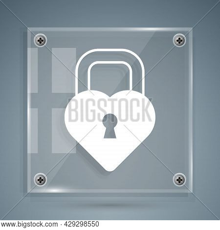White Castle In The Shape Of A Heart Icon Isolated On Grey Background. Locked Heart. Love Symbol And