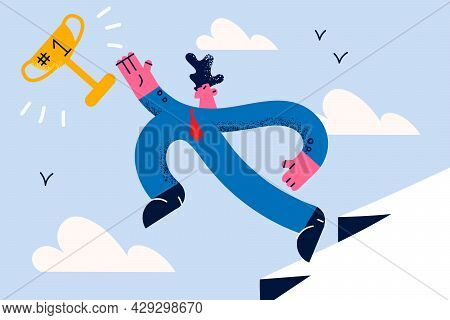 Aspirating Goal And Successful Career Concept. Happy Businessman Jumping From Cliff To Reach Achieve