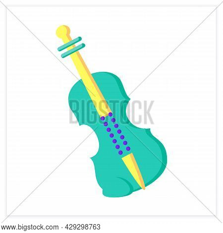 Violin Color Icon. Classical String Orchestral Musical Instrument. Classical, Ethnic And Modern Musi