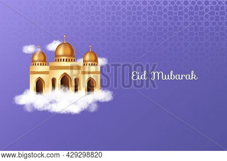 Luxury Eid Mubarak With Realistic Clouds, 3D Golden Mosque And Decorations. Islamic Background Suita
