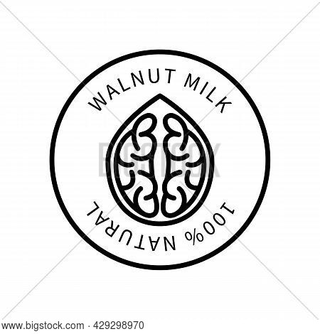 Icon Walnut Line Simple Style. Natural Product Containing Milk. Vector Sign In A Simple Style Isolat