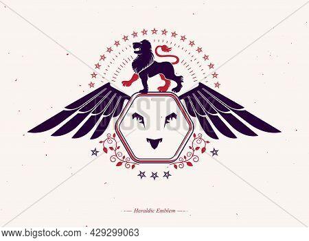 Heraldic Winged Emblem Isolated Vector Illustration Created Using Wild Lion And Pentagonal Stars.
