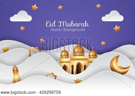 Eid Mubarak Background In Paper Cut Style With 3D Golden Mosque And Decorations. Islamic Background