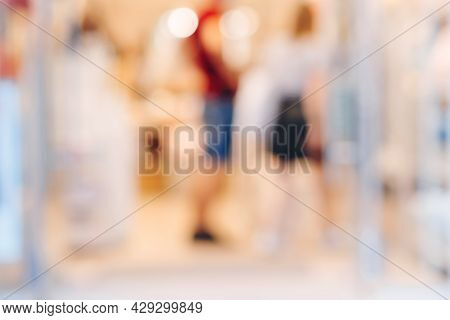 Blurred Shopping Mall Background. Abstract Blur Background Of People Lifestyle In Store. Modern Shop