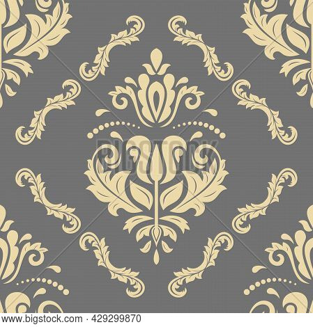 Classic Seamless Vector Pattern. Damask Orient Ornament. Classic Vintage Gray And Golden Background.