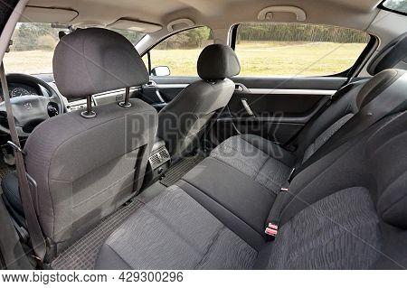 Berlin - April 2014: Peugeot 407 2003-2010 Sedan Pre Facelift Contemporary Car Cabin Interior With R
