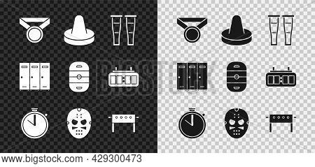 Set Medal, Mallet For Playing Air Hockey, Crutch Crutches, Stopwatch, Hockey Mask, Table, Locker Cha