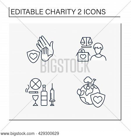 Charity Line Icons Set. Drug And Alcohol Abuse, Environment, Child Protection And Advocacy Charities