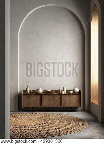 Interior With Arcs, Dresser And Decor. 3d Render Illustration Mockup.