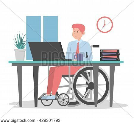 Man In Wheechair Working In Office Isolated