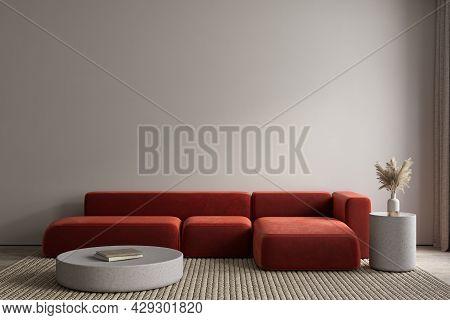 Modern Interior With Orange Sofa And Decor. 3d Render Illustration Mockup